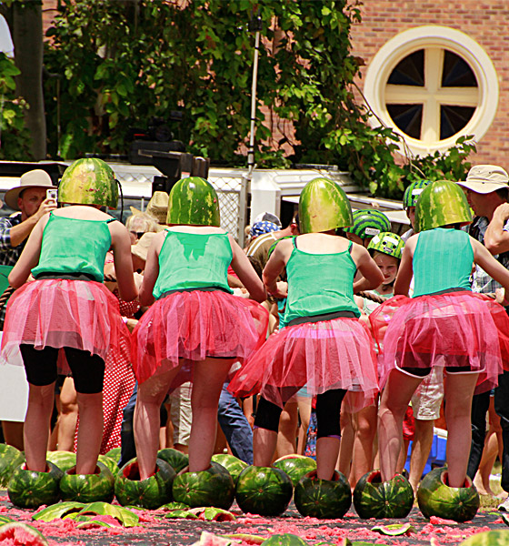 Preparing for watermelon skiing