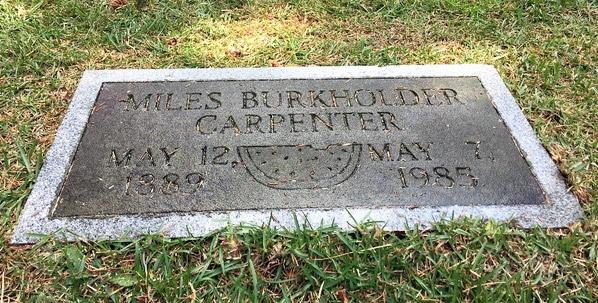 Tombstone of Miles Burkholder Carpenter