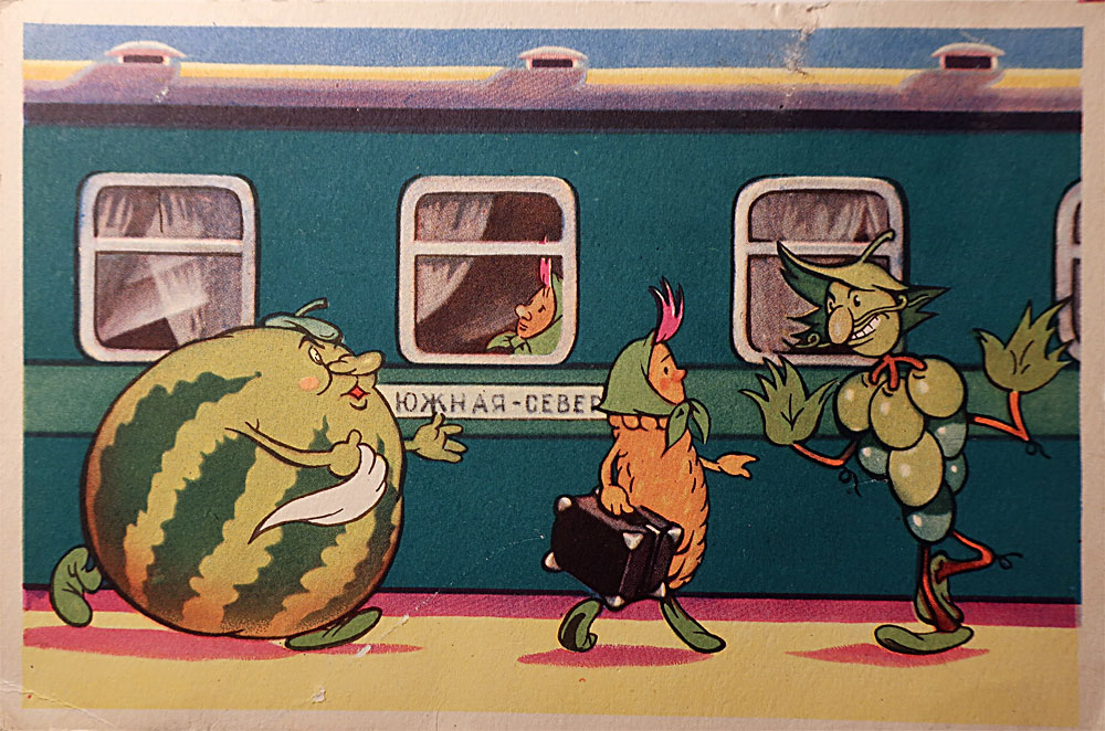 Vintage postcard.  Watermelon running for train