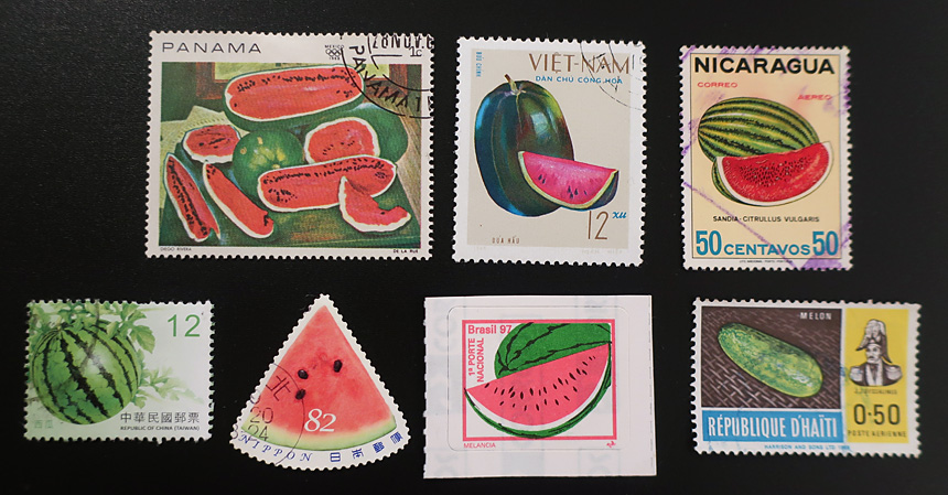 Watermelon stamps from around the world