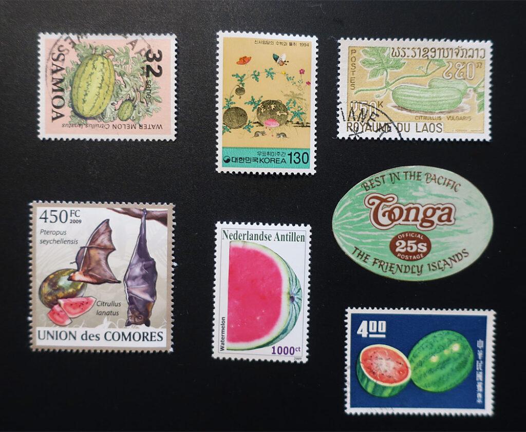 Watermelon stamps from Samoa, Korea, Laos, Nederlandse, Conga, Union de Comoros