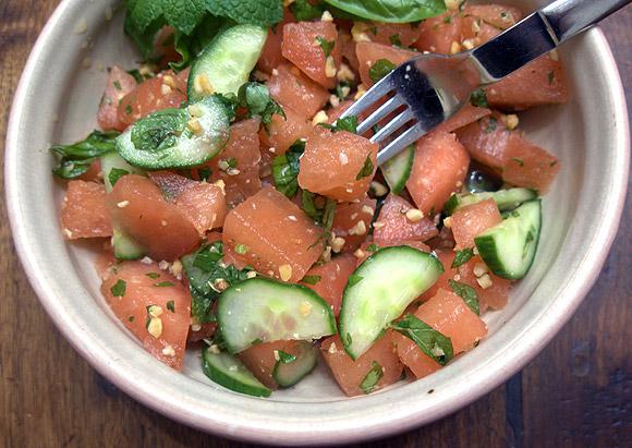 Thai inspired watermelon salad